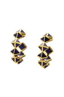 Gold plated hoop earrings with blue resin pyramids