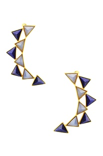 Gold plated ear-cuffs with blue triangle studs