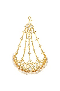 Gold plated passa with mirror-work & pearls