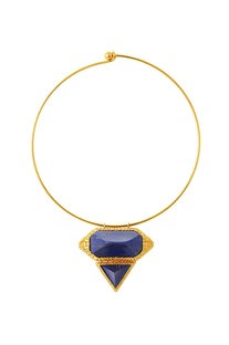 Gold plated choker necklace with blue studs