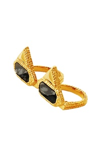 Gold plated hinge ring with black studs