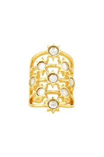 Gold plated ring with mirror-work