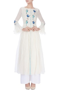 White anarkali with bird patches
