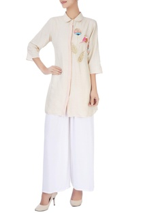 Beige embroidered shirt tunic