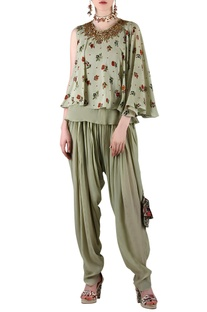 Sage green printed pant set