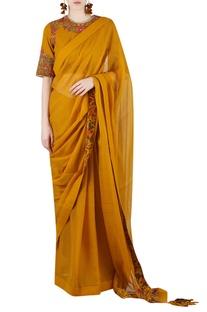 Mustard yellow printed sari