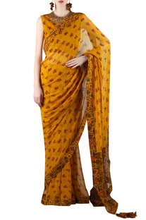 Mustard yellow printed sari with embellishment