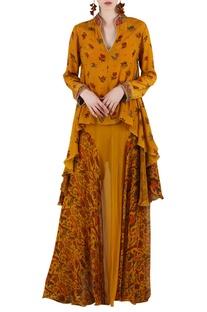 Mustard yellow printed & embellished skirt set