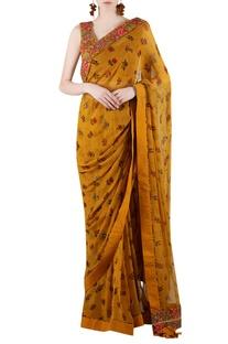 Mustard yellow embellished sari with print