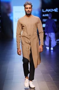 Brown jacket style kurta