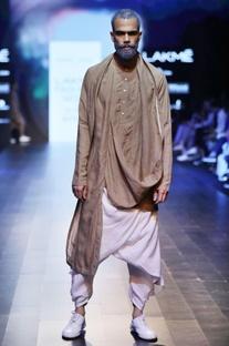 Sand brown draped kurta