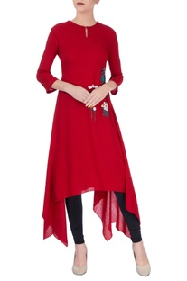 Dark red asymmetric kurta