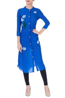 Royal blue embroidered kurta