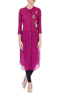 Wine embroidered kurta
