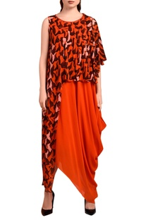 Orange draped maxi dress