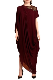 Wine red draped maxi dress