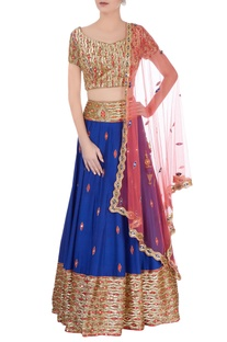 Royal blue & red lehenga set