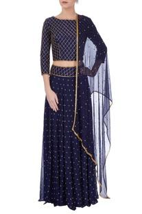 Midnight blue embellished lehenga set