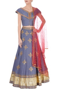 Grey silk mirrorwork lehenga set