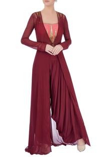 Marsala dhoti pants & coral top with jacket