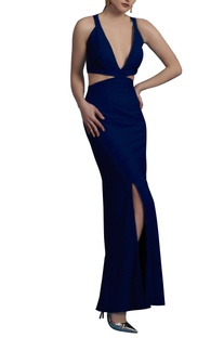 Electric blue maxi with cutout detail
