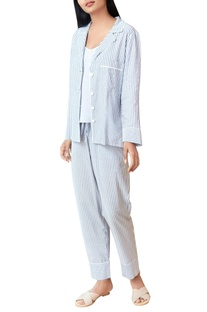 Grey & white striped pajama set