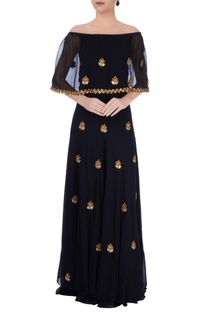Black & gold off-shoulder dress