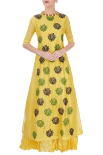 Yellow rose print anarkali
