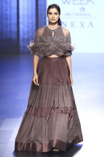 Dark grey lehenga and blouse