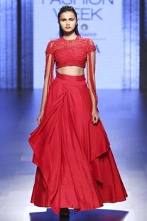 Red draped lehenga & fringed blouse