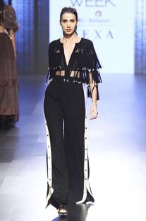 Black suede fringed jumpsuit