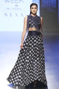 Midnight blue lehenga skirt & crop top