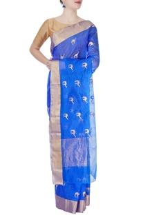 Cobalt blue mulberry silk sari with camel motifs