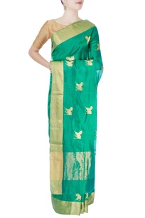 Shamrock green horse motif sari