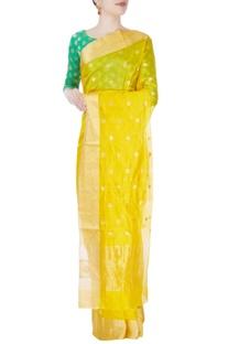 Butter yellow mulberry silk sari