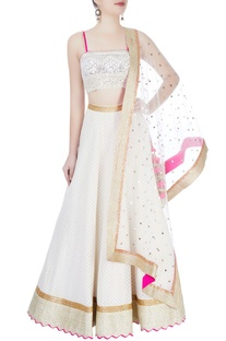 White embellished lehenga set
