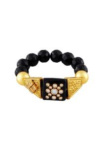 Black & gold studded bracelets