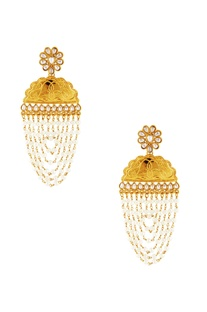 Gold & white kundan dangler earrings