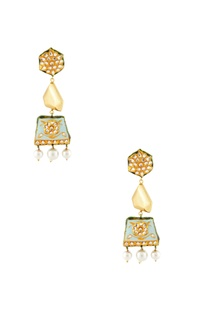 Gold & blue studded drop earrings