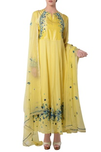 Yellow anarkali set with floral embroidery