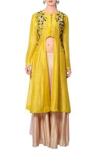 Mustard yellow & beige embroidered skirt set