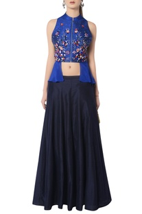 Blue embroidered skirt set