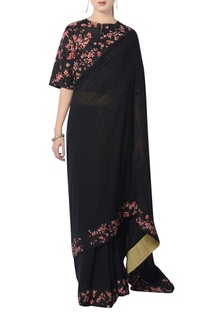 Black embroidered sari with blouse