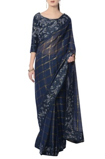 Navy blue embroidered sari with blouse