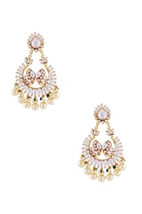 Gold plated earrings with kundan