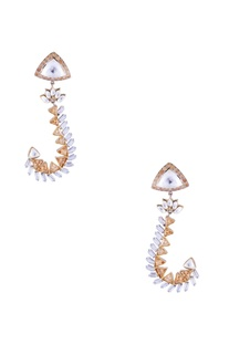 Gold plated earrings with kundan and stones