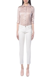 Dusky pink shirt with floral embellishments