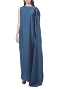 Blue draped dress with embellishments