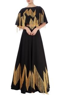 Black lehenga & cropped top with tassels