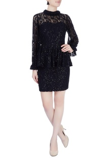 Black sequin embellished peplum dress
